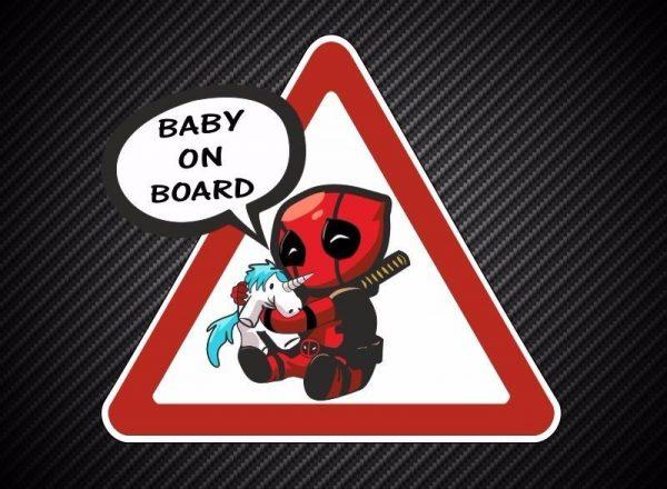 Наклейка ребёнок в машине Дедпул